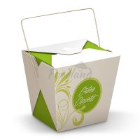 Box-Asia to go-Green Flower with handle 14314 - 24 OZ